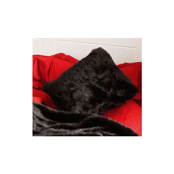 Black Faux Fur Cushion Cover 45 x 45 cm