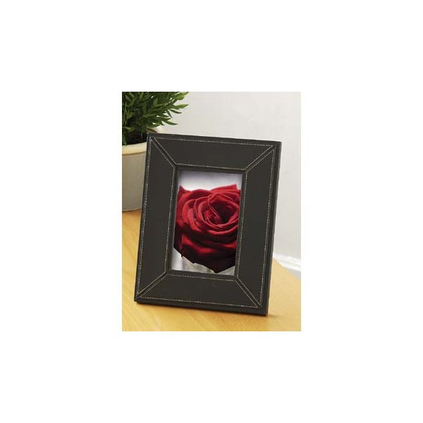 Black Faux Leather Photo Frame