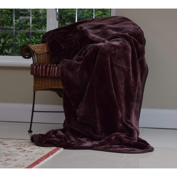 Chocolate Faux Mink Fur Bedspread / Throw. Large. 240 x 200 cm