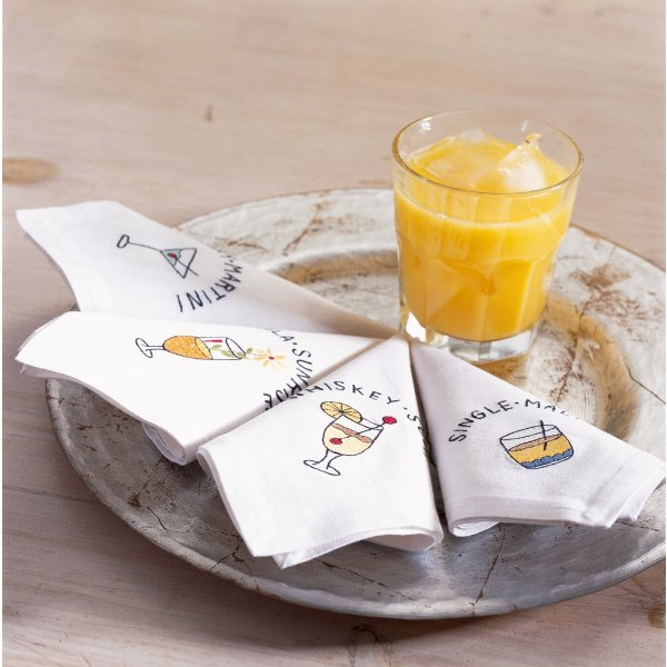 Drink Motifs Napkin 25 x 25 cm set of four