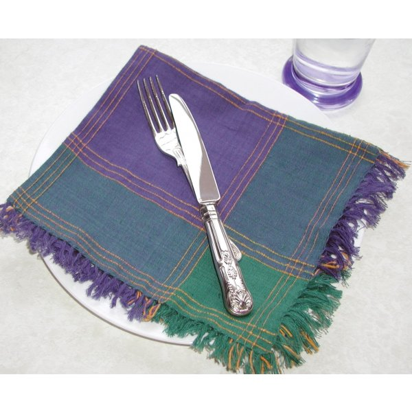 Green/Blue Check Napkins 40x40cm set of 6