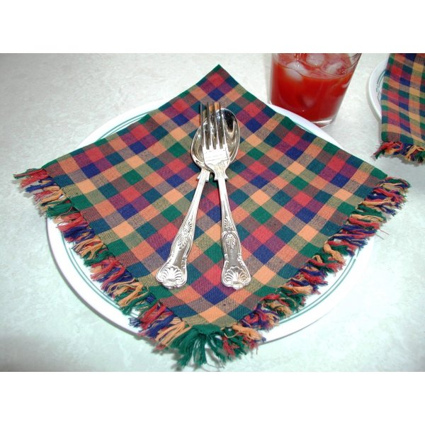 Green/Blue/Rust Check Napkins 40x40cm set of 6