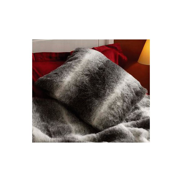 Grey Faux Fur Cushion Cover 45 x 45 cm