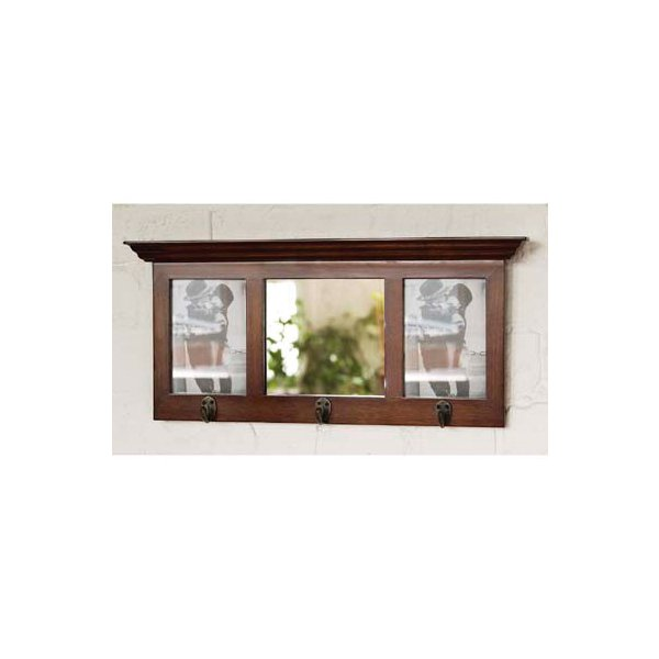 Mahogany Finish Hallway Mirror with 3 Hanging Hooks