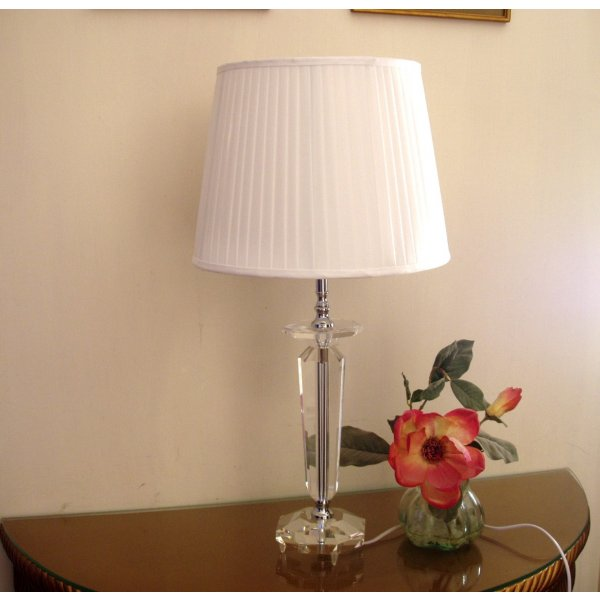 Oblong Crystal Glass Lamp free fabric lamp shade. Approx. Height 45 cm