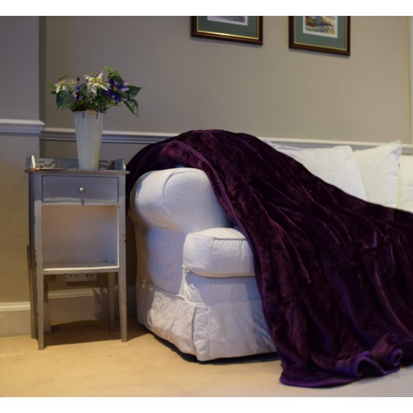 Purple Faux Mink Fur Bedspread / Throw. Large. 240 x 200 cm