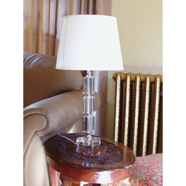 Rectangular Crystal Glass Lamp with free fabric lamp shade. Approx. Height 45 cm