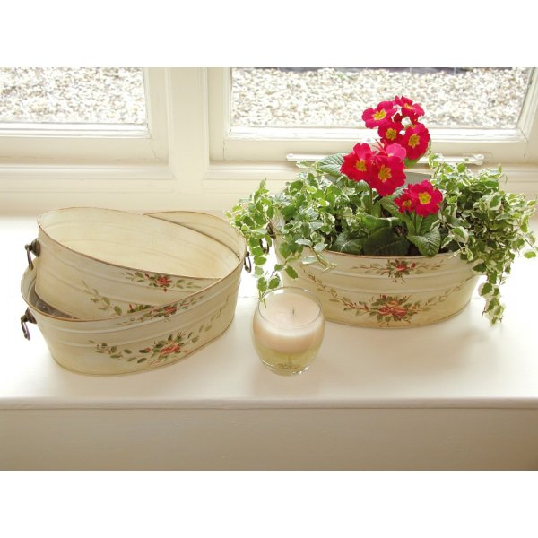 Set of 3 Red Rose Decorative Planters