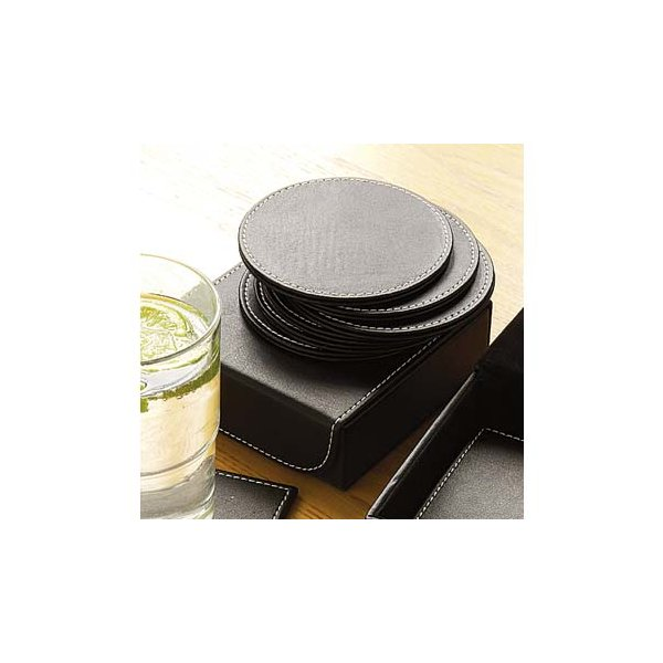 Set of Six Black Faux Leather Round Coasters with Holder