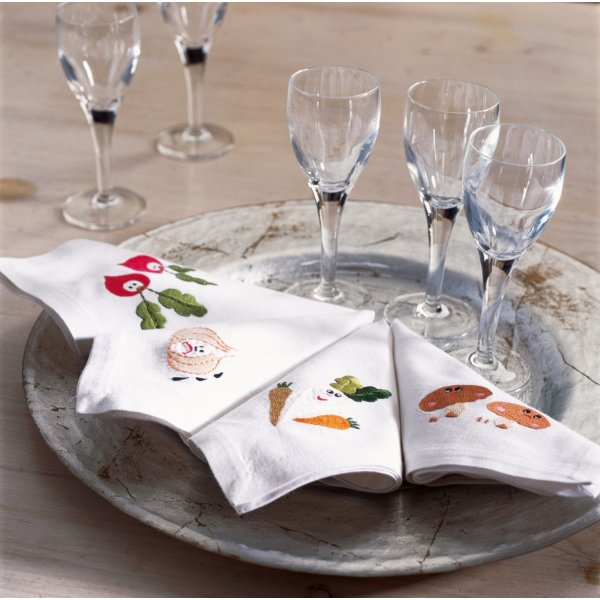 Vegetable motifs  Napkin 25 x 25 cm set of four